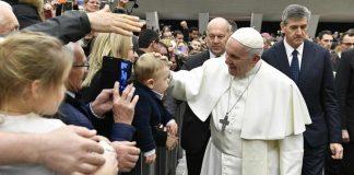 Papa Francesco all'udienza di stamattina alla Sala Nervi