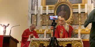 La celebrazione dalla cappella di San Giuseppe della Cattedrale